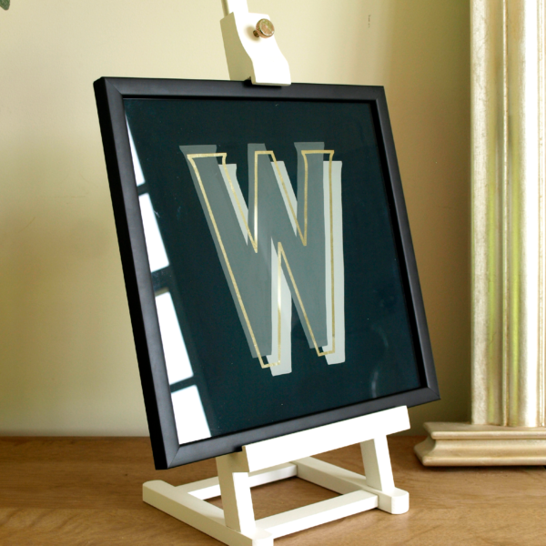 Gold Glass Gilded Alphabet Letter Gift Hand Painted, triple grayscale, and Framed