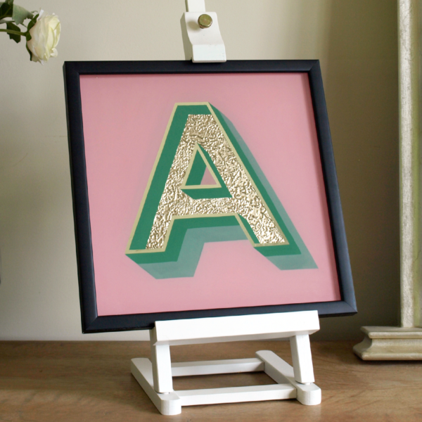 Gold Glass Gilded Alphabet Letter Gift Hand Painted, pink and green, and Framed