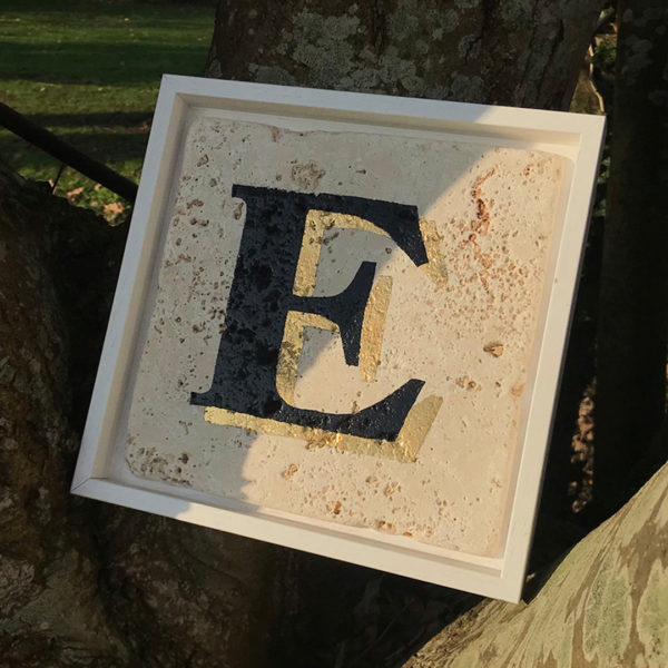 Natural stone tile hand painted letter with gold leaf, framed gift