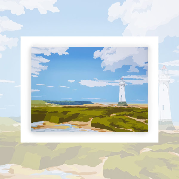Alison Butler Art, The Lighthouse New Brighton Art Print, Digital Painting of New Brighton Wirral