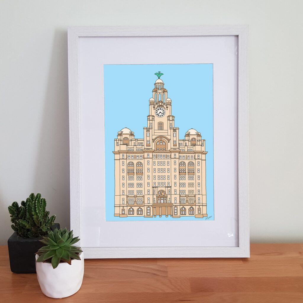 Alison Butler Art, The Royal Liver Building, Liverpool, Digital Art Illustration