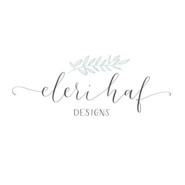 Eleri Haf Designs logo, modern calligraphy logo