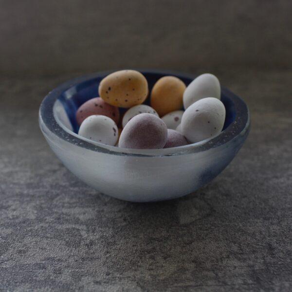 indigo blue powder blue trinket bowl by Bridget Marchi glass