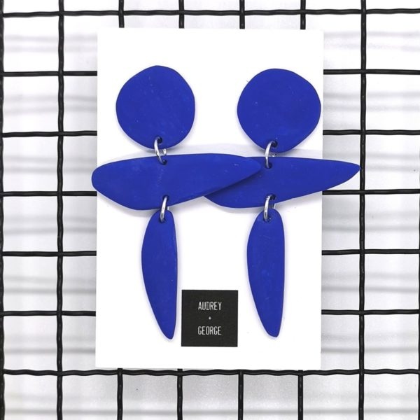 Audrey and george cobalt blue polymer clay earrings inspired by the work of artist Henri Matisse
