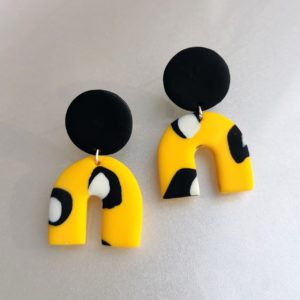 Audrey and george leopard print polymer clay earrings