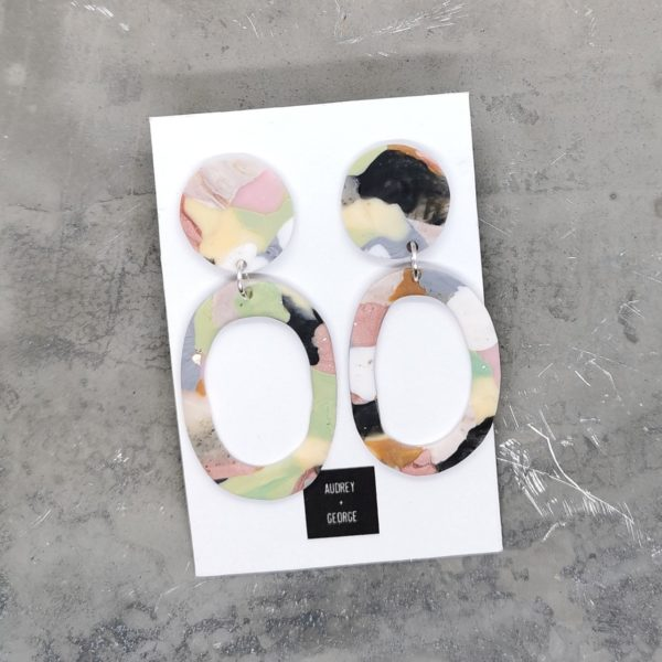 Audrey and george handmade patchwork inspired polymer clay hoop earrings in pink, green, nude, black and grey