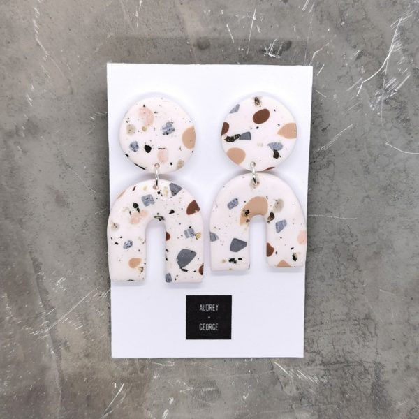 Audrey and george terrazzo tile polymer clay earrings