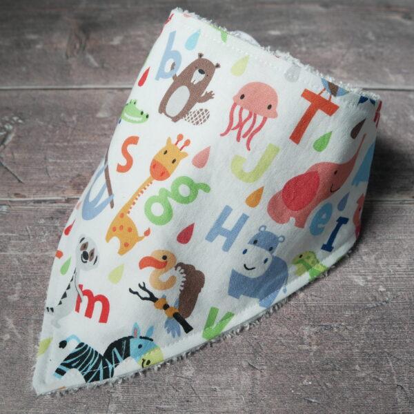 Handmade Sewing alphabet animals soft bamboo bandana dribble bib