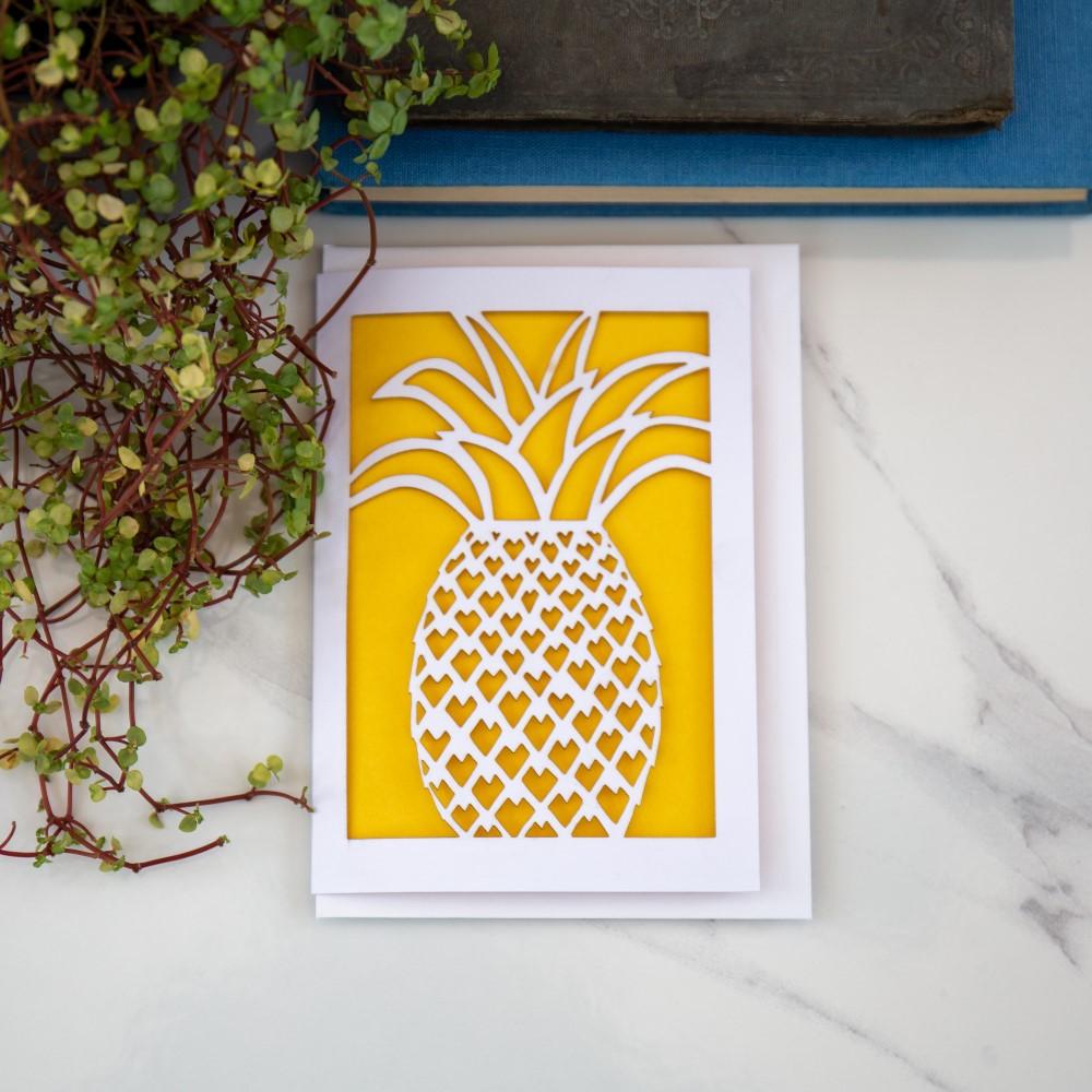 Peach Plot Laser Cut Pineapple Card