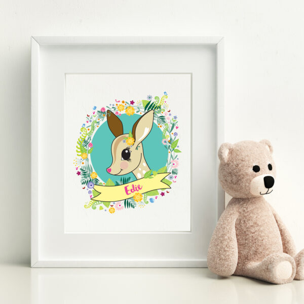 Personalised A4 childrens print depicting a doe surrounded by flowers, butterflies and bluebirds