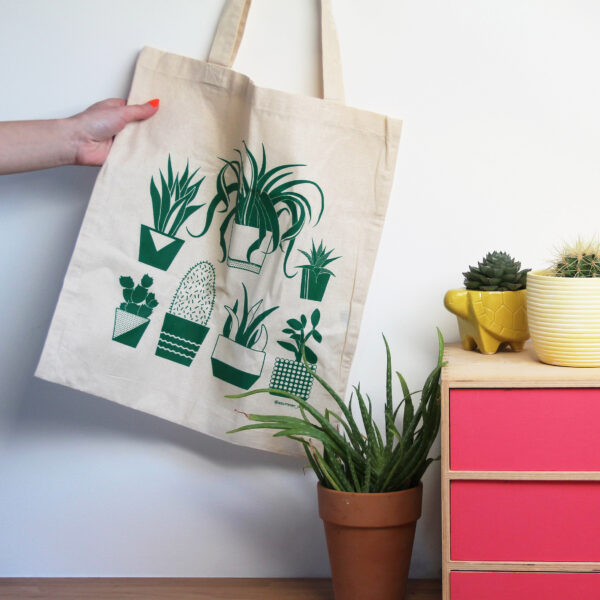 Abby Sumner Design, Plant Reusable Tote Bag 100% Natural Cotton
