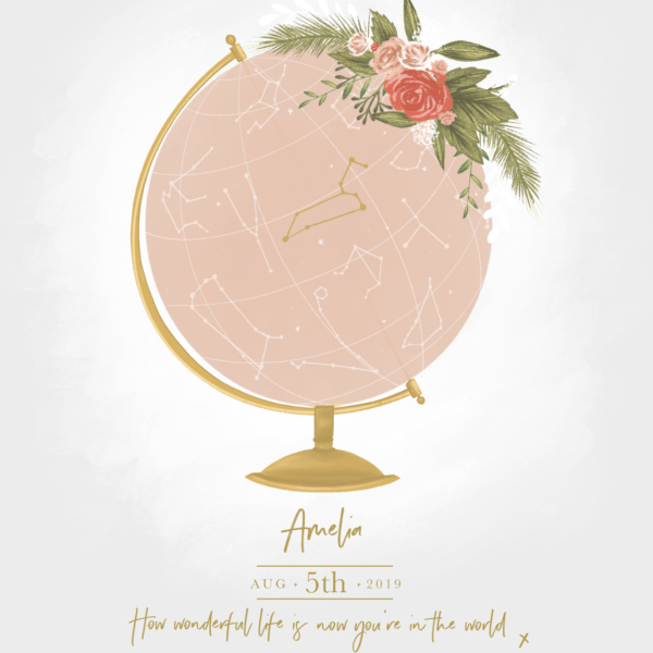 Personalised Globe Prints, Amy Olivia Harris Design