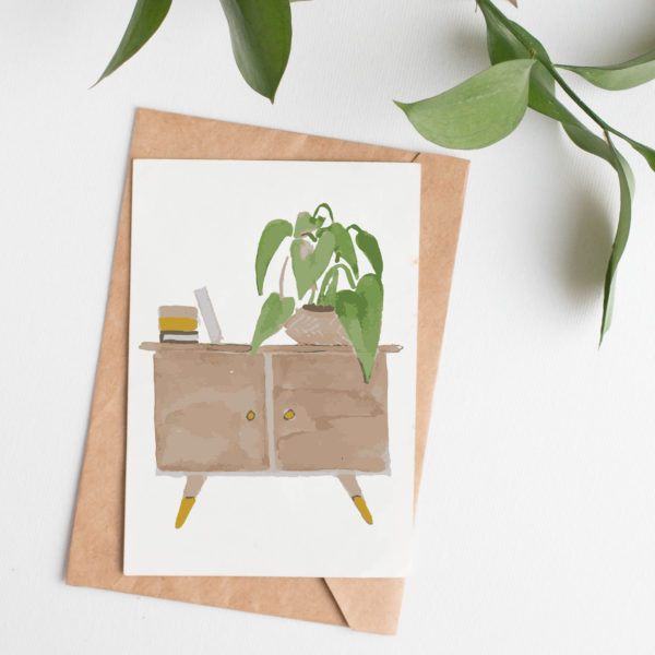 Natural Home - Sideboard with house plants and kraft envelope- House Plant Inspired Card - Sarah Anne Draws - printed on recycled materials in Yorkshire