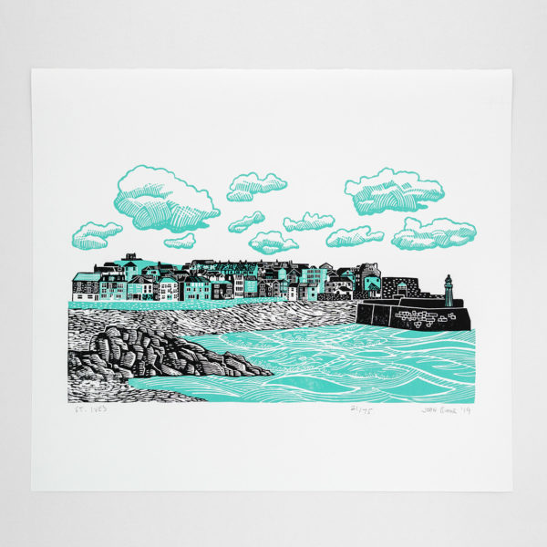 John Bloor Print Design St. Ives print showing the harbour and houses