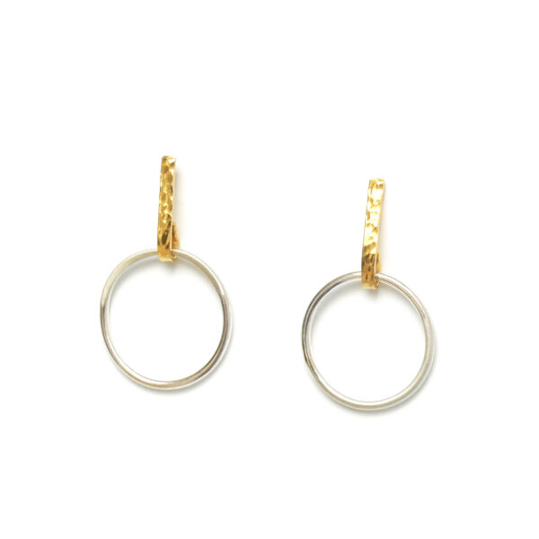 Sunburst circle earrings in silver and gold Design Vaults