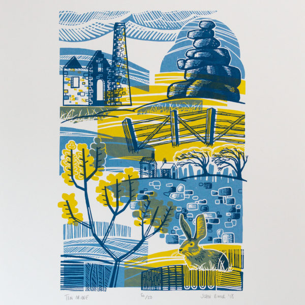John Bloor Print Design Tin Mine print of Cornwall with dry stone wall, tor, rabbit, gorse and fence