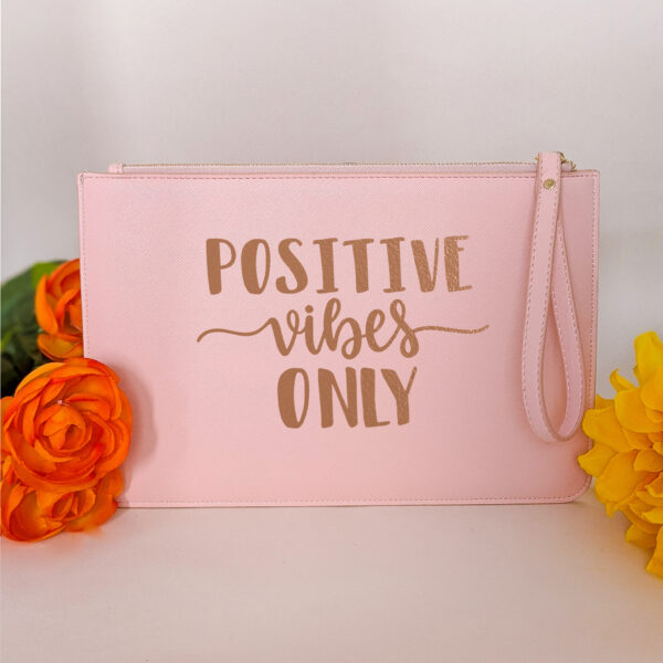 HappyToteQuotes, 'Positive Vibes Only' Clutch Bag