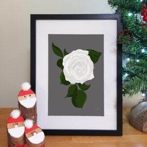 Alison Butler Art, Floral White Rose Print, Black Frame, Christmas Backdrop