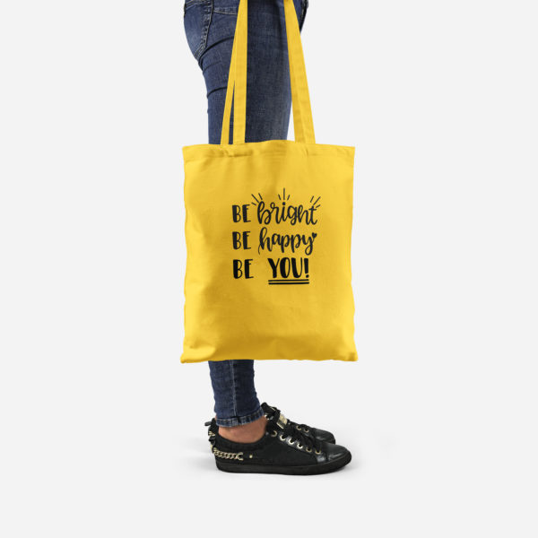 HappyToteQuotes, 'Be Bright, Be Happy, Be You' Tote Bag