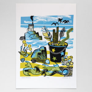 John Bloor Print Design Beach findings print, bucket with driftwood, pebbles and feathers