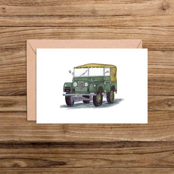 Land Rover Series 1 Illustration Blank Card