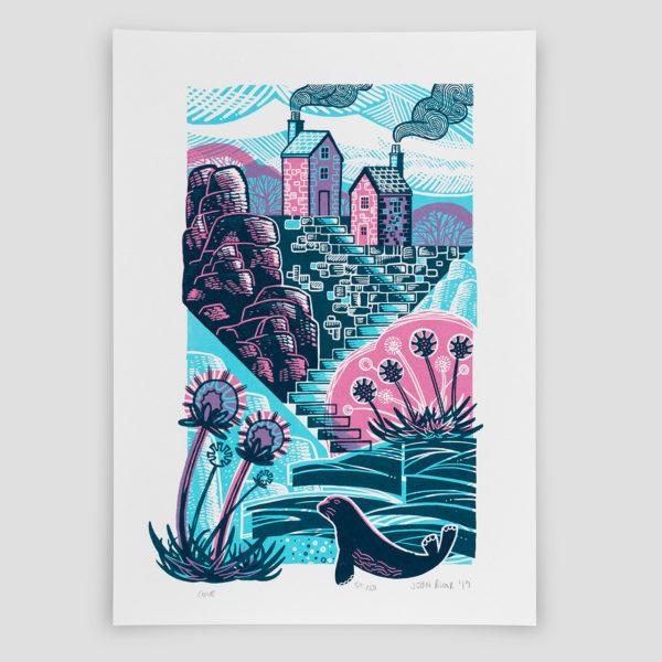 John Bloor Print Design Cove print, houses, steps, thrift, rocks and seal
