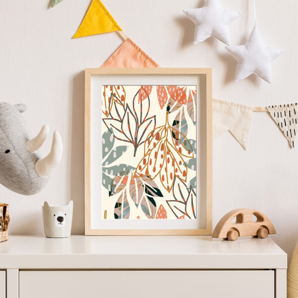 Megan Rose Designs, White dropping leaves print, abstract botanical print in pink, green ocre, mustard and orange, in scandinavian style boho nursery, pastel bunting and rhino toy