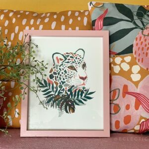 Megan Rose Bill Designs, Rainbow jag print in pink frame, with colourful pink and mustard printed cushions
