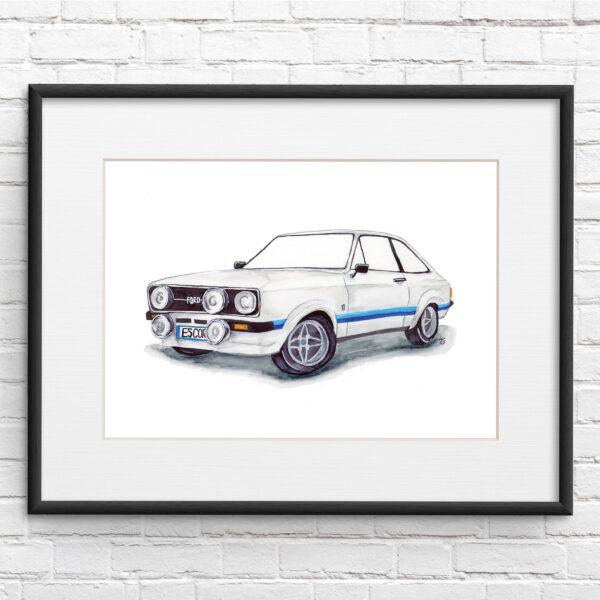 Escort MK2 RS 2000 Illustration Car Print