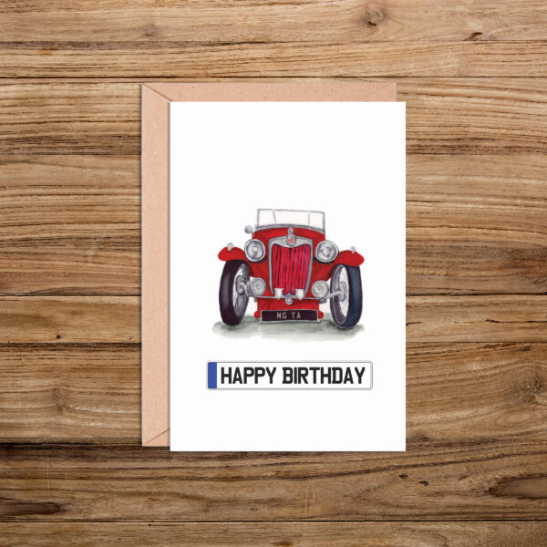 MG-TA Happy Birthday Number Plate Card