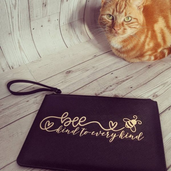 HappyToteQuotes, 'Bee Kind To Every Kind' Faux Leather Clutch Bag