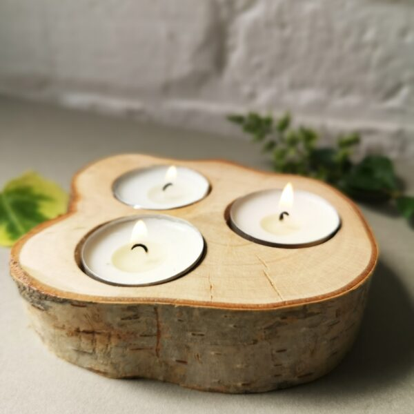 Ivy Upcycling Birch Bark tealight holder Hand crafted out of seasoned Birch branch rescued from tree pruning waste which takes 3 tealights.