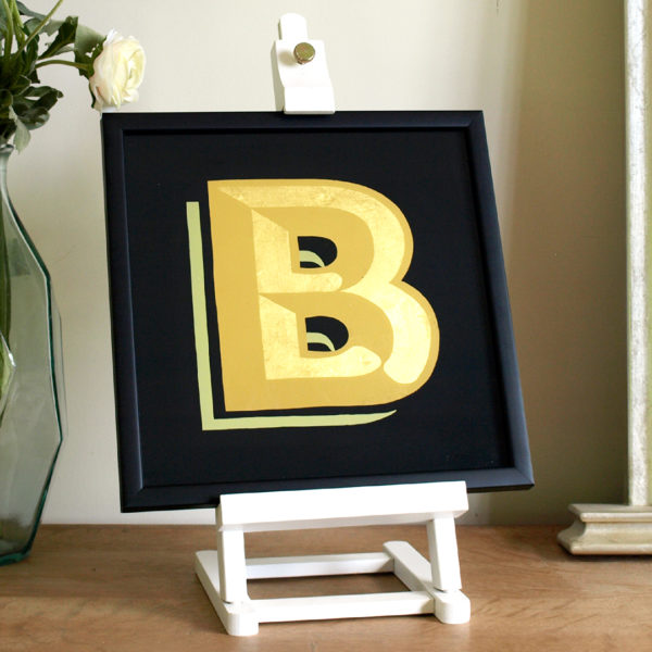 Gold Glass Gilded Alphabet Letter Gift Hand Painted, yellow and black, and Framed