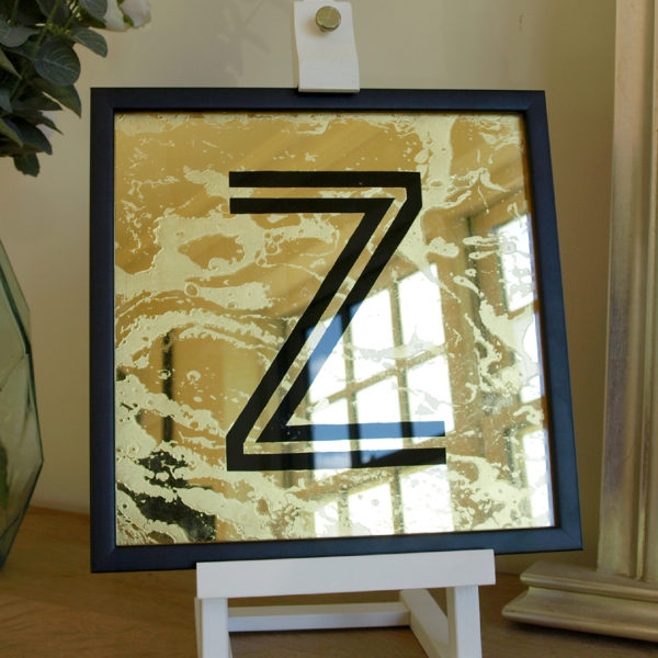 Gold Glass Gilded Alphabet Letter Gift Hand Painted and Framed
