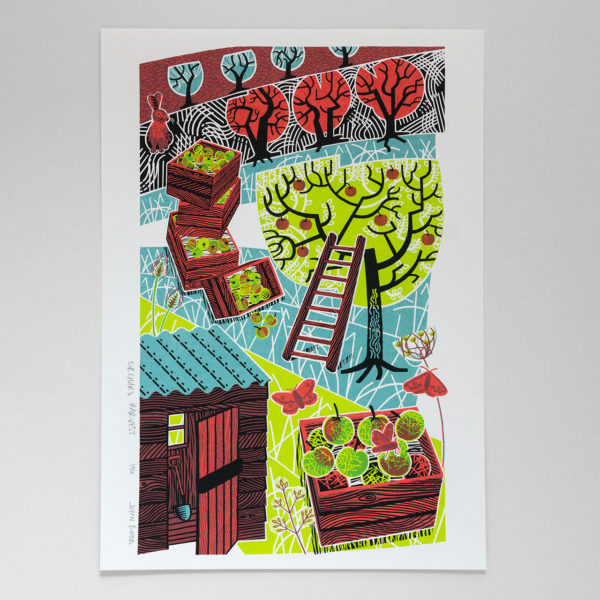 John Bloor Print Design Orchard Harvest print with apples, trees, boxes, moths and shed