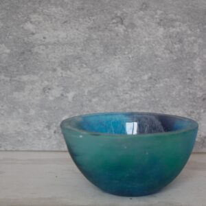 blue multi trinket bowl by Bridget Marchi glass