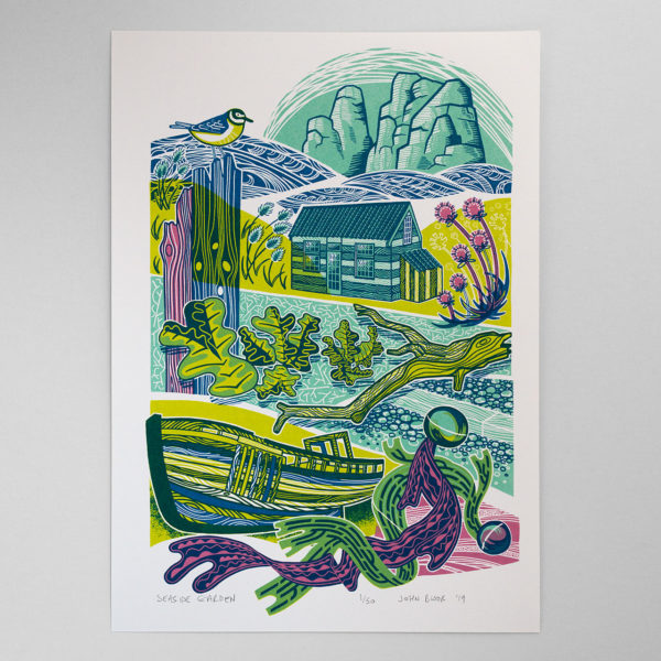 Seaside Garden print with flowers, plants, boat, rocks and driftwood
