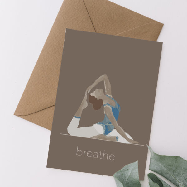 Finding Balance - Breathe - Yoga Inspired Card showing yogi in blue and white on a brown background with a kraft envelope - Sarah Anne Draws - printed on recycled materials in Yorkshire