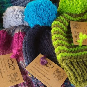Scruffy Dog Creations. Bobble Hats, Handknitted