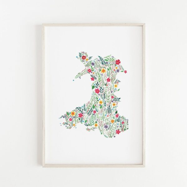 Floral map of Wales, illustrated map, map o gymru