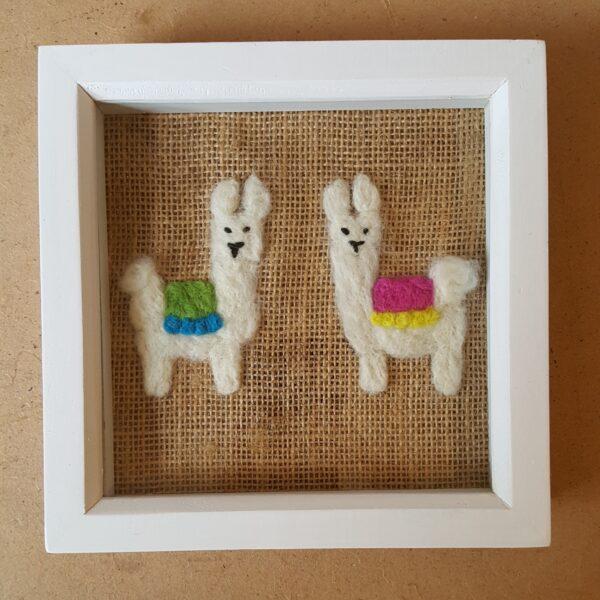 Scruffy Dog Creations, Framed Needle Felted 2 Llamas