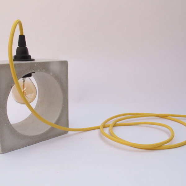 Mexish Made, Concrete Lamp, Grey Square Concrete Lamp with Yellow Fabric Cable