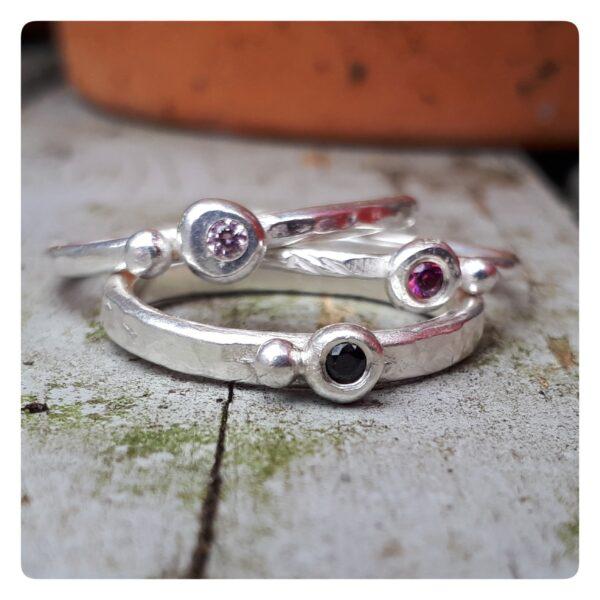 Jackie Vine Jewellery, trio of rings
