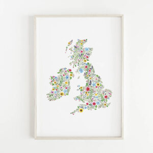 Floral map of British isles, botanical map, illustrated map