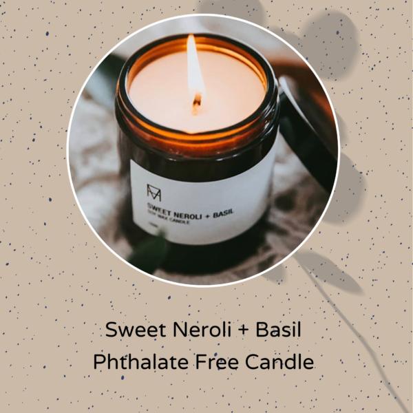 Unnaaty, Sweet Neroli And Basil Phthalate Free Candle