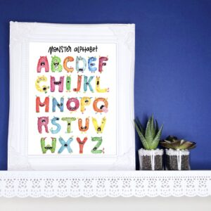 Carriegraphy A to Z rainbow monster illustrated alphabet A4 print