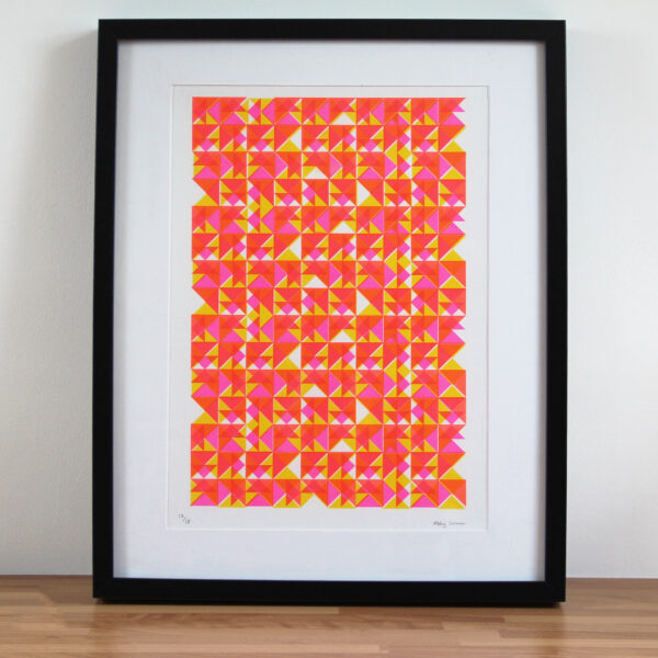 Abby Sumner Design, A3 Triangle Pattern Risograph Print, Pink Yellow and Orange