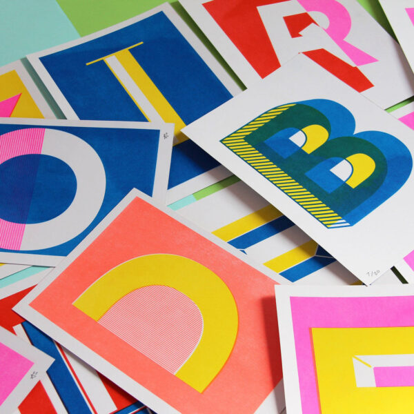 Abby Sumner Design, A5 Letter Initial Risograph Prints