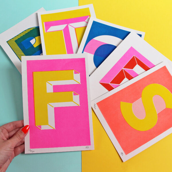 Abby Sumner Design, A5 Letter Initial Risograph Print