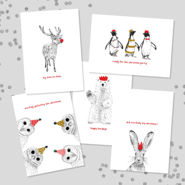 Funny Animal Christmas Cards Pack of 5 by Bamber Prints
